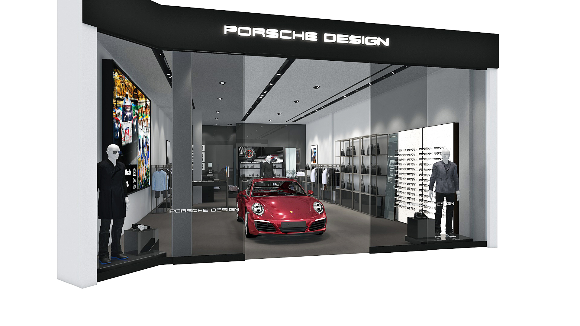 A rendering of the new Porsche Design store in South Coast Plaza.