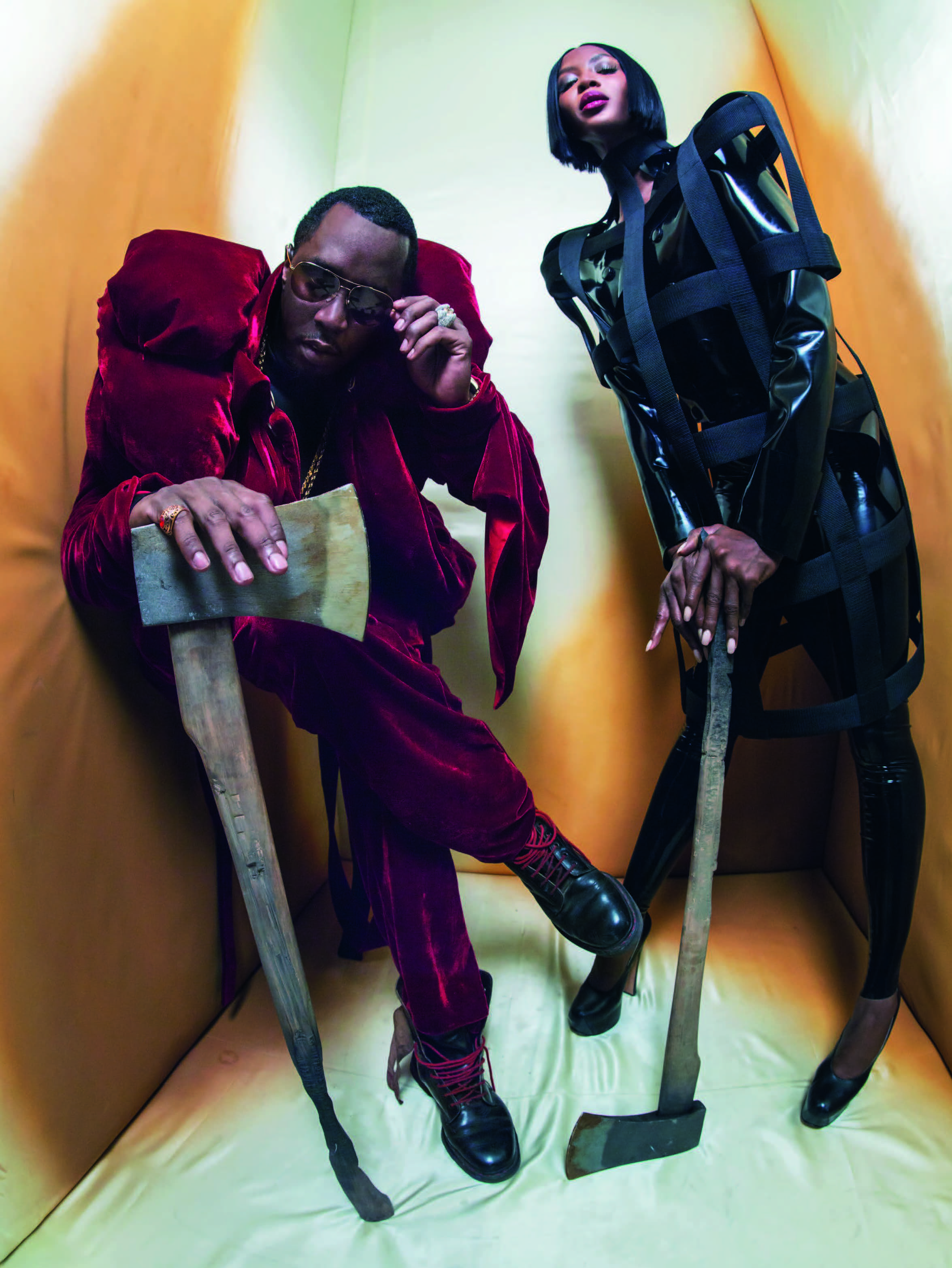 Naomi Campbell and Sean Diddy combs as the beheaders in the Pirelli 2018 Calendar.