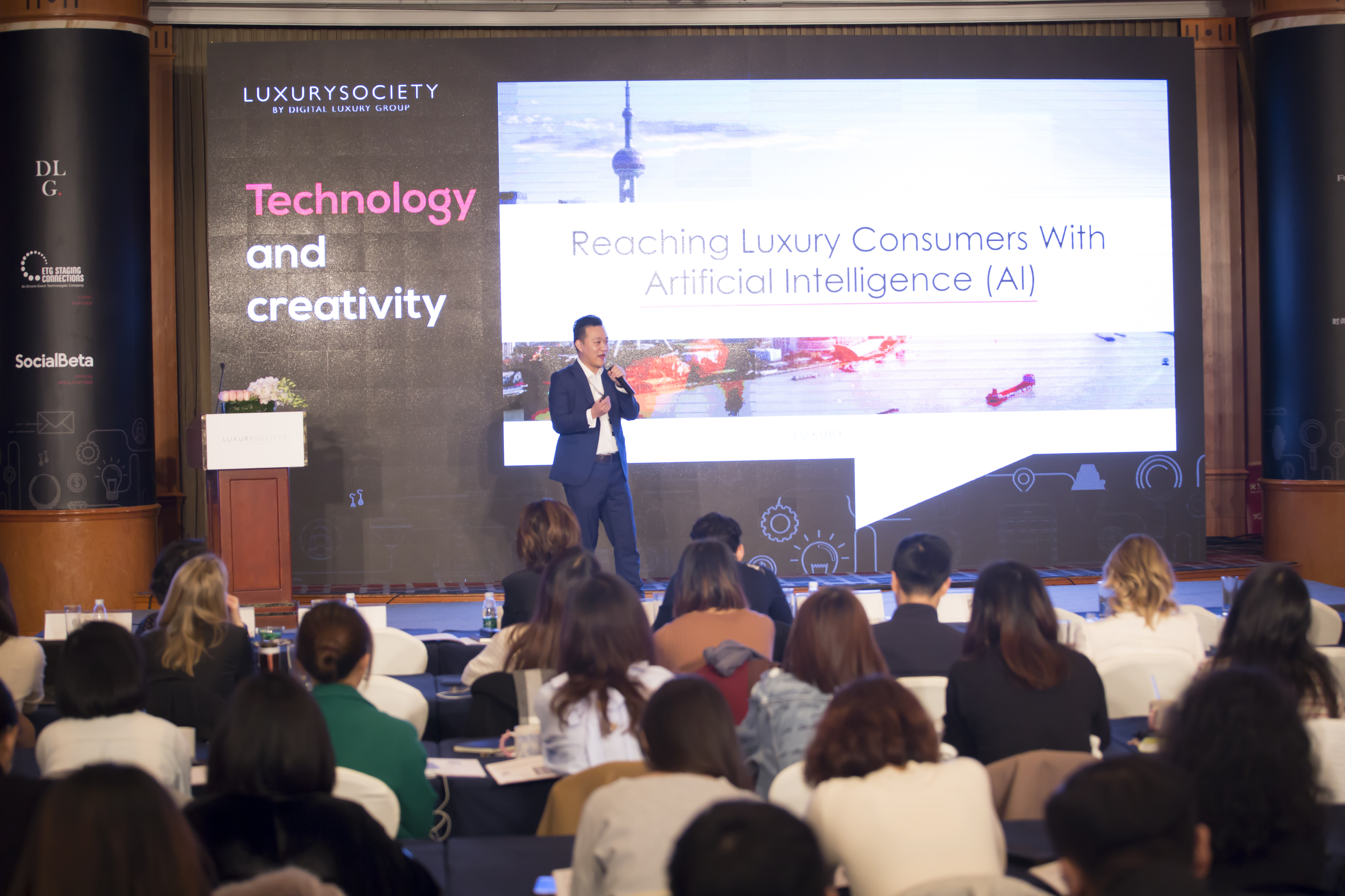 Baidu's Charly Cai talks artificial intelligence at the Luxury Society Keynote in Shanghai.
