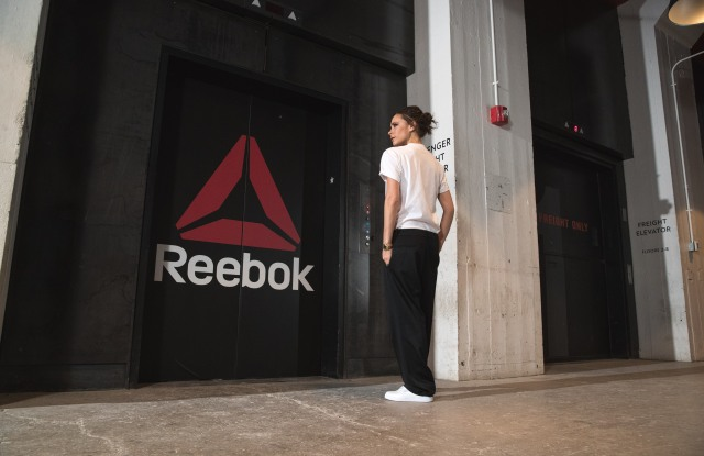 Victoria Beckham outside of Reebok's Boston office.