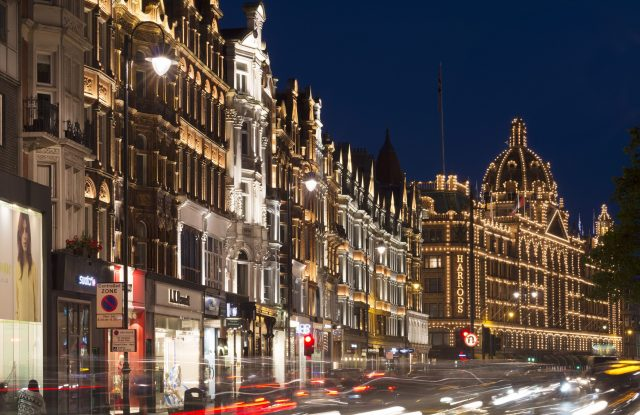A night-time view of Harrods.