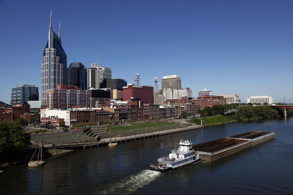 The Nashville, Tenn. downtown area and the Cumberland River are shown onNashville Skyline, Nashville, USA