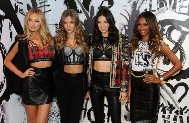 Romee Strijd, Josephine Skriver, Adriana Lima, and Jasmine Tookes wearing the Victoria's Secret x Balmain collection.