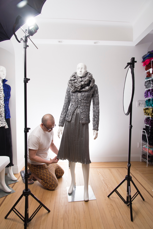 Richard Tsao and the silver handwoven Thai silk cocoon jacket.