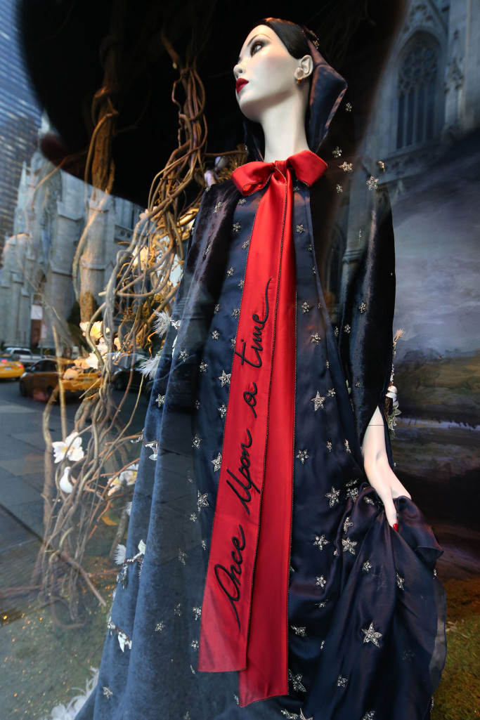 """The """"Snow White"""" Saks holiday windows with dresses by Alberta Ferretti and Naeem Khan."""