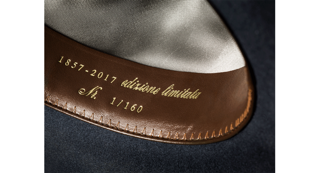 "Details of the Borsalino ""Siur Pipen"" hat."