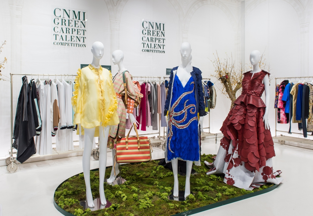 The corner dedicated to the Green Carpet Talent Competition's five finalist inside The Creative Spot Fashion in Fidenza Village, Italy.