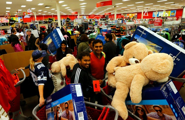 IMAGE DISTRIBUTED FOR TARGET - Guests take advantage of Target's Black Friday sales at the Jersey City, N.J. store Thursday, Nov. 26, 2015. (Noah K. Murray/ AP Images for Target)