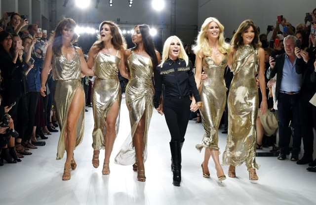 Helena Christensen, Cindy Crawford, Naomi Campbell, Donatella Versaces, Claudia Schiffer and Carla Bruni-Sarkozy on the catwalkVersace show, Runway, Spring Summer 2018, Milan Fashion Week, Italy - 22 Sep 2017