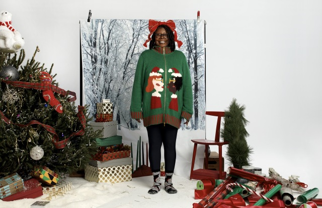 A look from Whoopi Goldberg's holiday sweater line for Zappos.com.