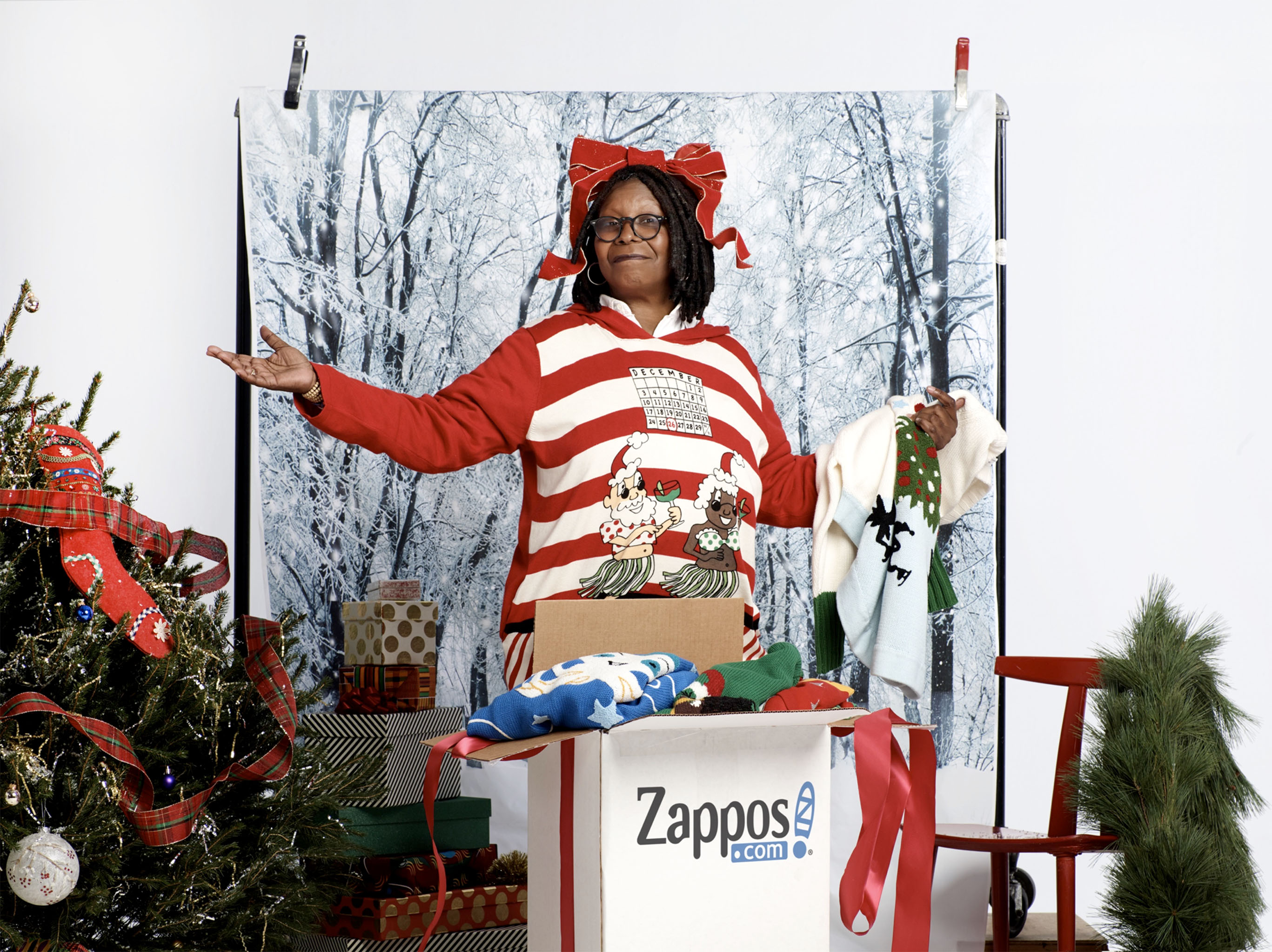 A look from Whoopi GoldbergÕs holiday sweater line for Zappos.com.
