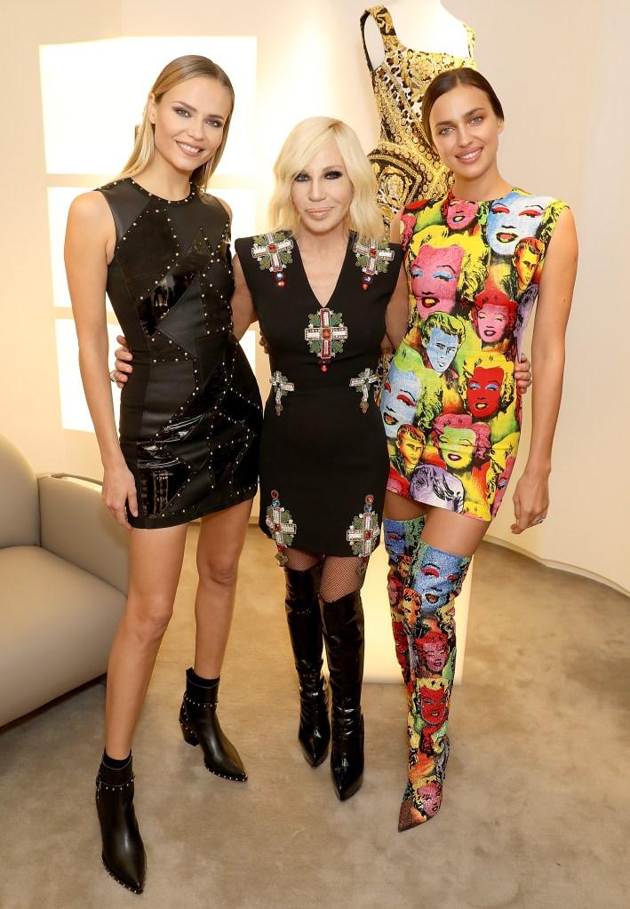 Natasha Poly, Donatella Versace and Irina Shayk