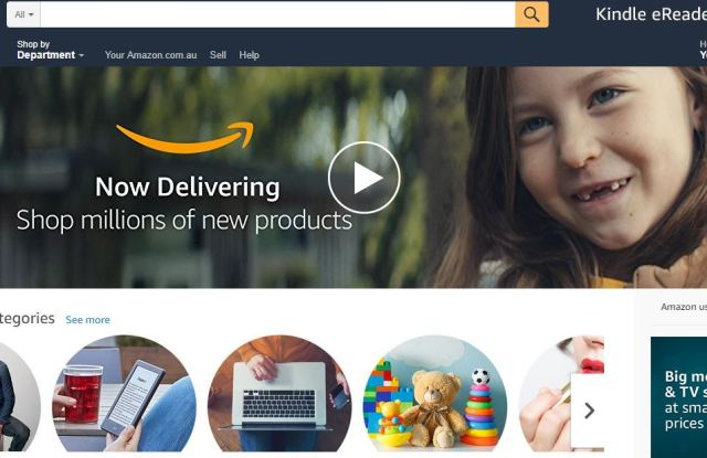 A shot of Amazon's new landing page for Australian shoppers.