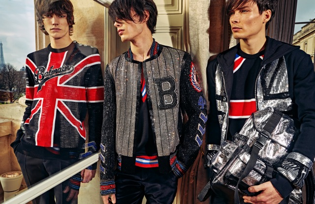 Looks from Balmain's pre-fall 2018 men's collection.