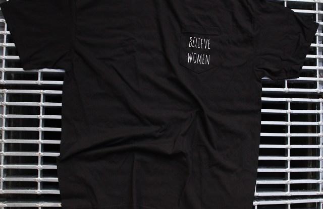 "AHUS' ""Believe Women"" shirt."