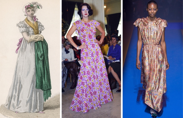 The 19th century continues to influence fashion. The silhouette of the neoclassical style at left, drawn in 1804, is seen at Yves Saint Laurent Rive Gauche spring 1974 (M), as well as Gucci spring 2018 (R).