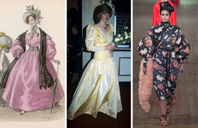 Interpretations of the gigot sleeve and nipped waist over the course of two centuries: left to right, an 1830s fashion plate, Princes Diana in 1983, a look from Marc Jacobs spring 2018.