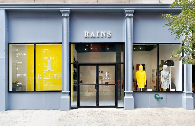 The facade of the Rains New York store. Photo courtesy of Rains.