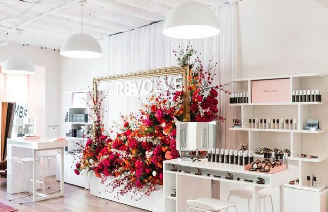 Beauty Barrage helped staff experts at Revolve's temporary beauty space.