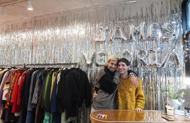 James Veloria founders Collin James Weber and Brandon Veloria Giordano at their Chintatown mall store.