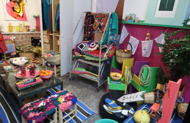 """Artist Mirabelle Marden's """"Plain Pleasures"""" pop-up shop at a Chinatown, NY mall."""