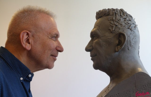 Jean Paul Gaultier and the new wax figure due to be unveiled at the Musée Grévin.