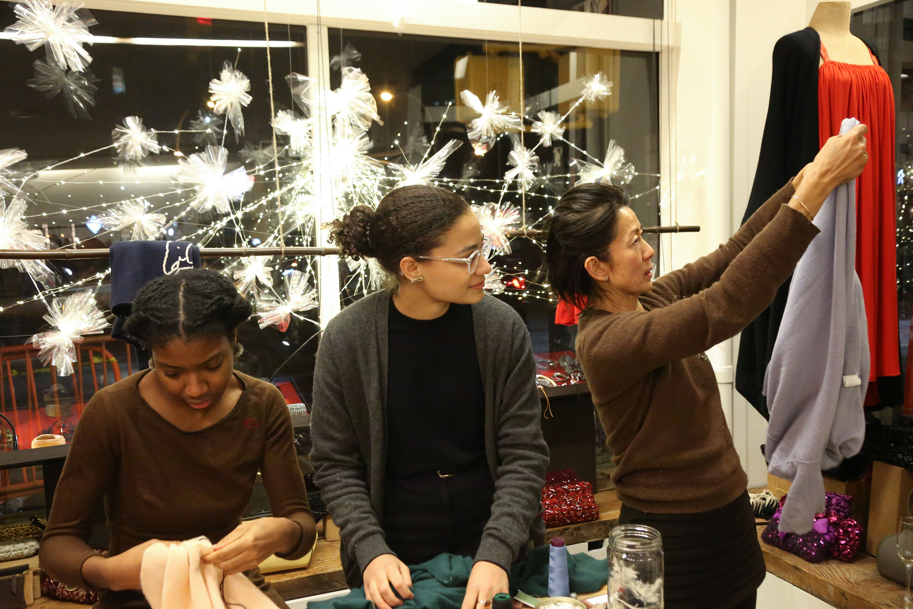 Jussara Lee held a holiday mending party to encourage sustainability.