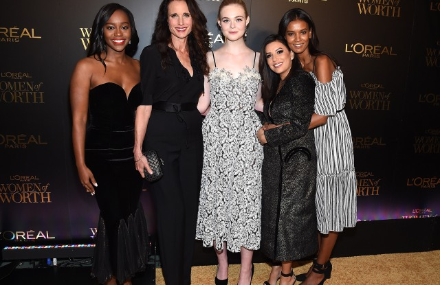 Aja Naomi King, Andie MacDowell, Elle Fanning, Eva Longoria and Liya Kebede attend L'Oreal Paris Women of Worth Celebration 2017 on December 6, 2017 in New York City.