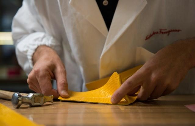 A Salvatore Ferragamo's artisan at work