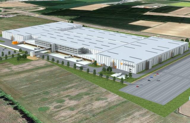 A digital rendering of Zalando's logistics hub in Nogarole Rocca.