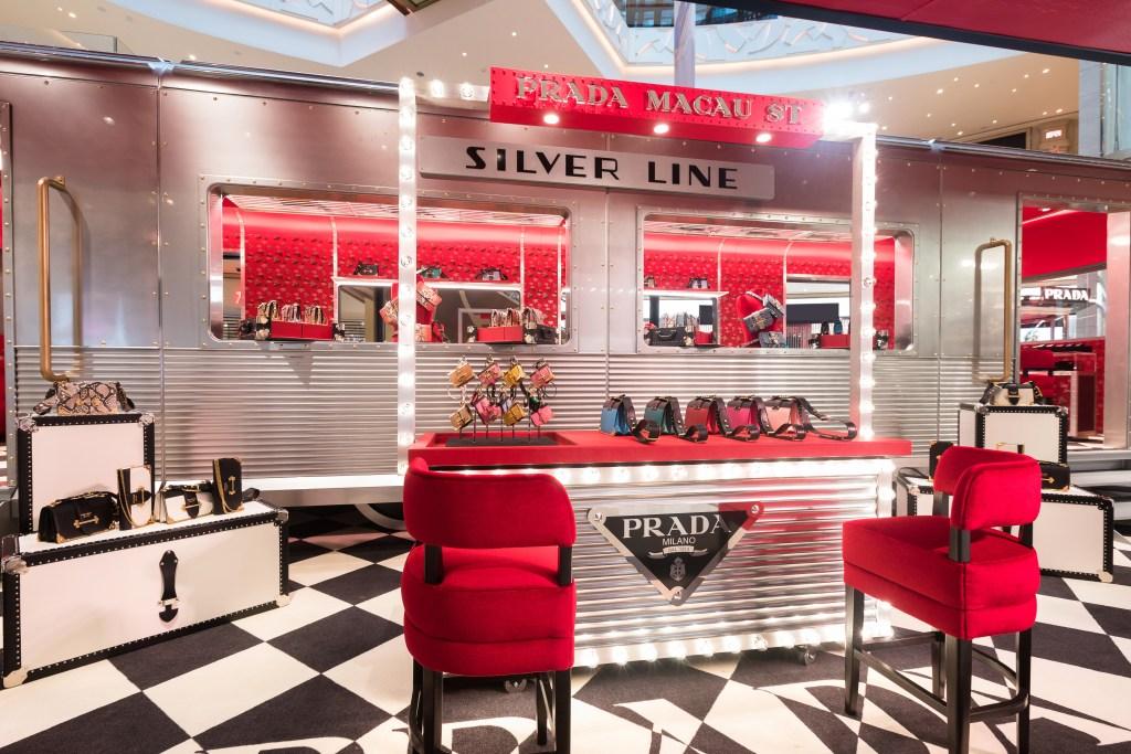 """Prada Silver Line"" pop-up at Galaxy shopping mall in Macau."