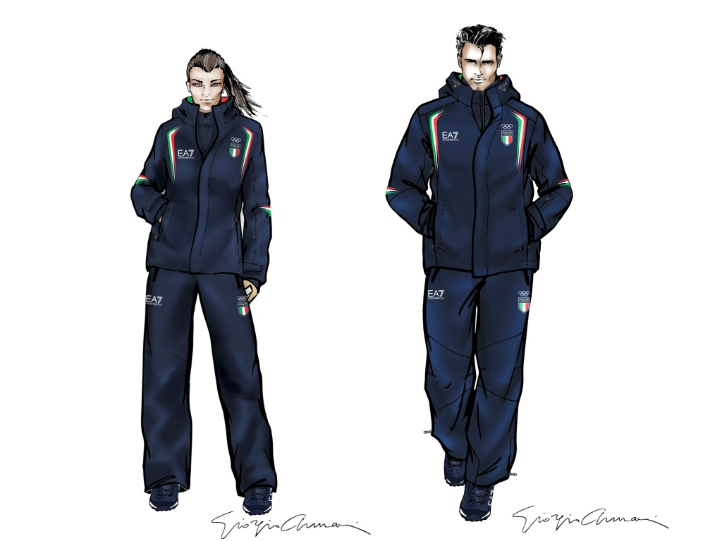 Sketches of the looks Giorgio Armani designed for Italian athletes competing at the 2018 Winter Games in Pyeongchang, Korea.