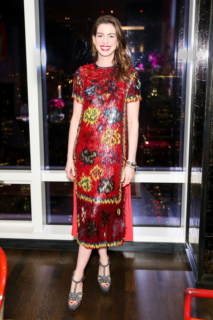 Exclusive all round: Premium rates apply for US & UKMandatory Credit: Photo by David X Prutting/BFA/REX/Shutterstock (9253090f) Anne Hathaway Valentino x Every Mother Counts cocktail party, New York, USA - 30 Nov 2017 WEARING VALENTINO SAME OUTFIT AS CATWALK MODEL *8835425as and Cleo Wade
