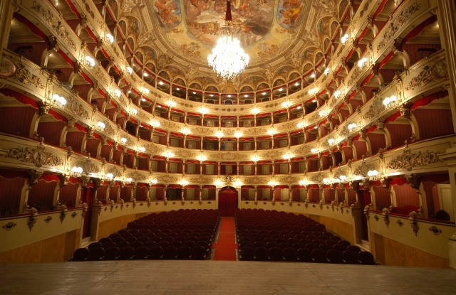 The Teatro Morlacchi theater in Perugia, Italy.