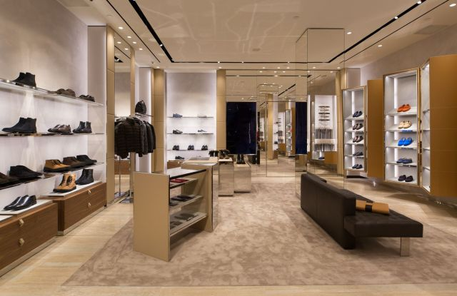 The men's wear area at Tod's Boston store.