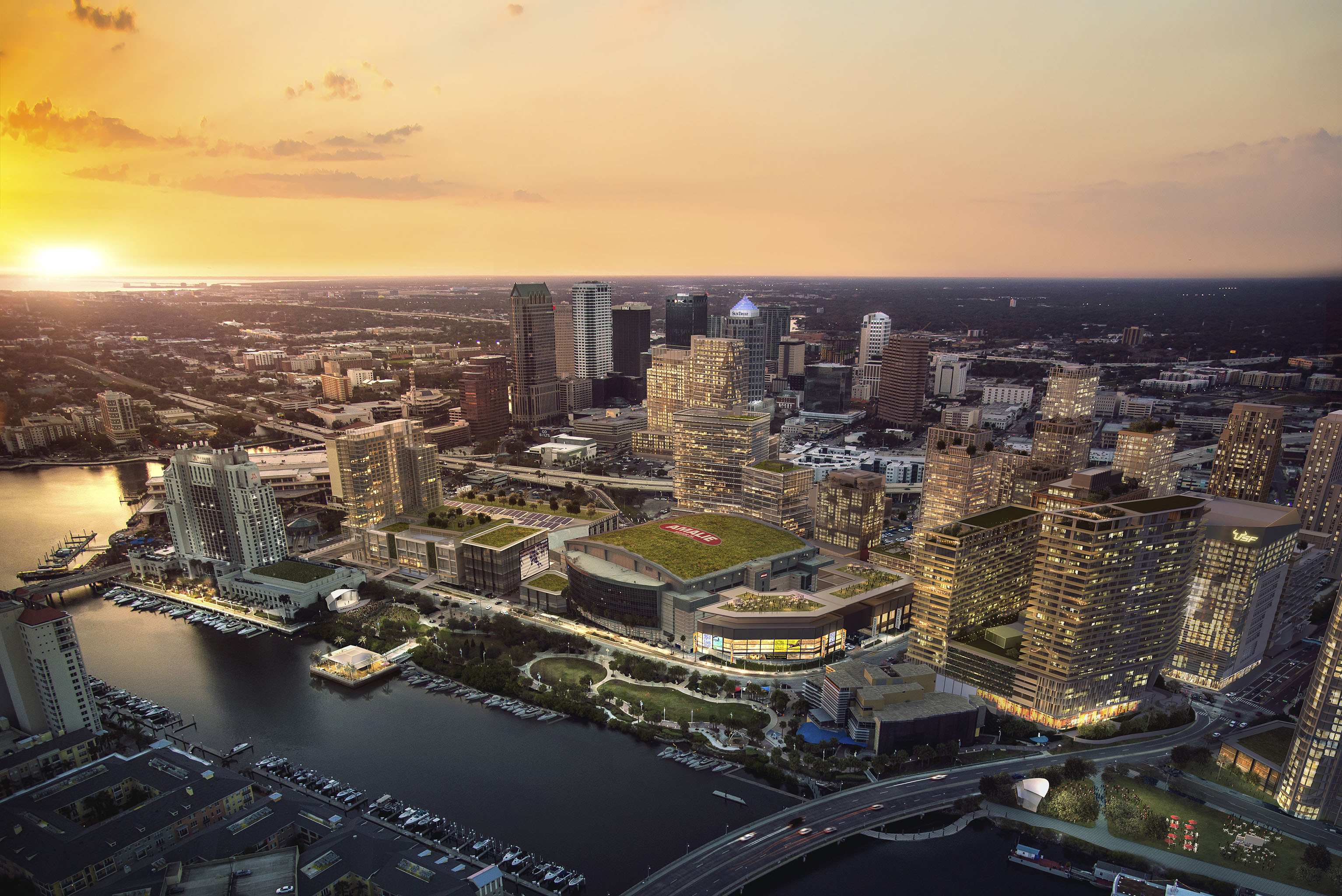 A view of downtown Tampa's skyline after the Water Street project is finished.