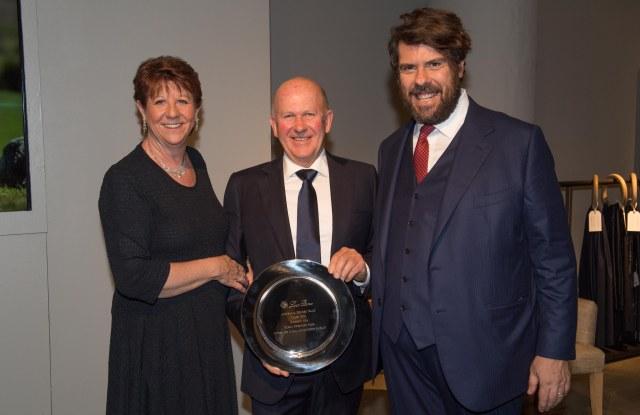 Winners Pamela and Robert Sandlant with Loro Piana ceo Fabio d'Angelantonio
