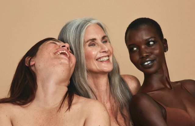Clementine Desseaux, Nicola Griffin and Nykhor-Nyakueinyang Paul in the All Woman Project and Babor campaign.