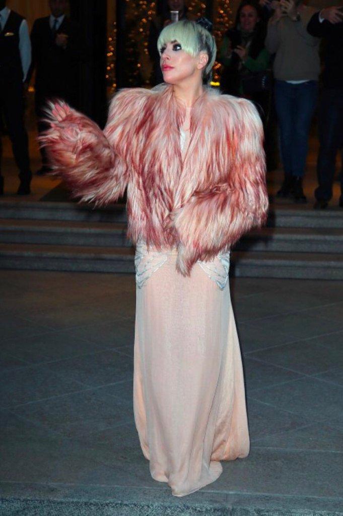 Lady Gaga wearing Francesco Scognamiglio in Milan.