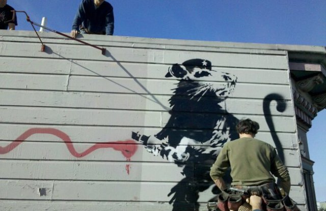A mural from the artist Banksy was salvaged from a Haight Street building in San Francisco.