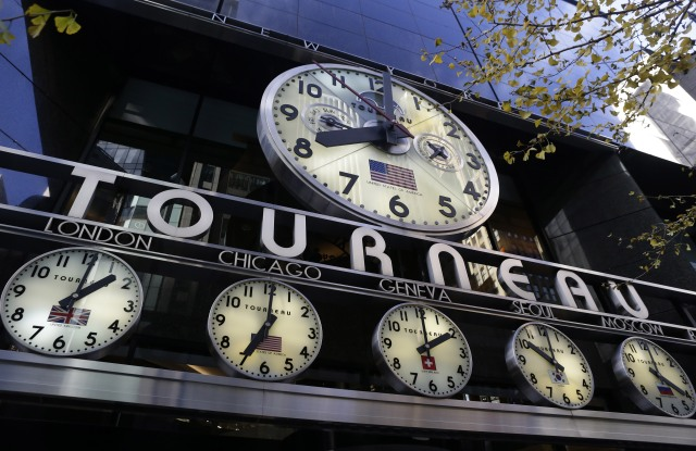 A General View of the Tourneau Clock Sign is Seen Outside the Flagship Store on Madison Avenue in New York Usa 19 November 2013 United States New YorkUsa Economy - Nov 2013