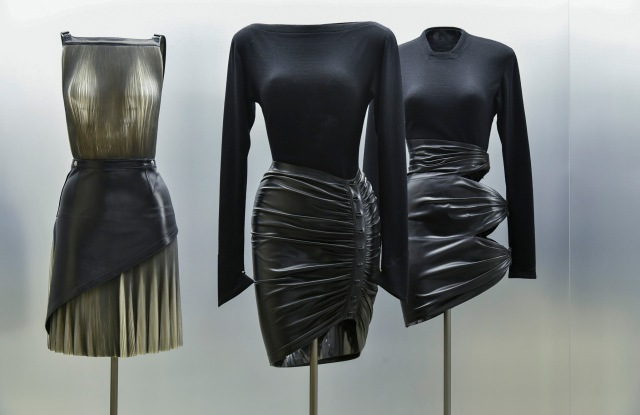 Looks from the Alaïa archive exhibition at London's Design Museum in 2018.