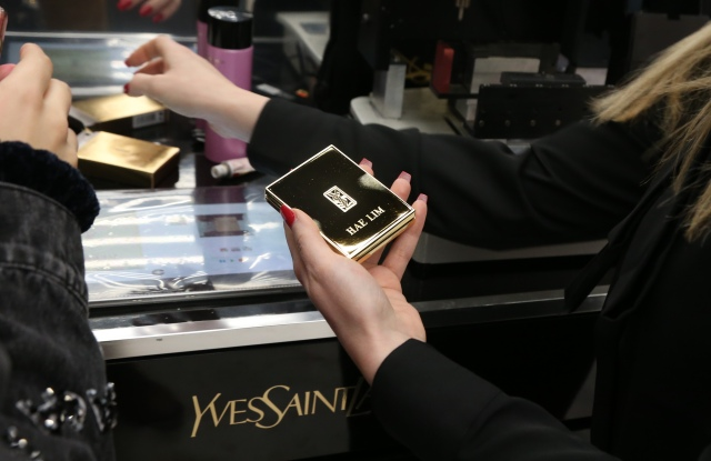 Engraving at the YSL pop-up shop.