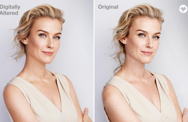 This is an example of a former beauty campaign where an altered image was used. Starting this year, imagery will be not be retouched and will feature the new Beauty Mark.