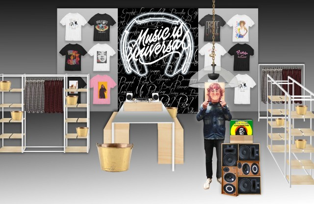 A rendering of the Music is Universal pop-up shop at Bloomingdale's.
