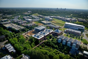 Centennial Campus aerial looking east towards downtown Raleigh.