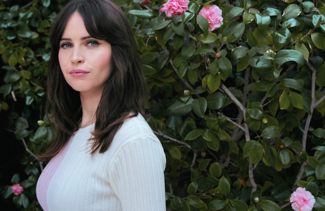 Felicity Jones photographed at The Beverly Hills Hotel by Dan Doperalski for WWD Digital Daily.