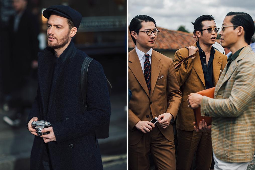 Left: Jonathan Daniel Pryce, a.k.a Garcon Jon, Right: A street style look by Garcon Jon.