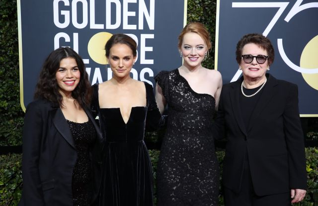 America Ferrera, Natalie Portman, Emma Stone and Billie Jean King, Golden Globes 2018
