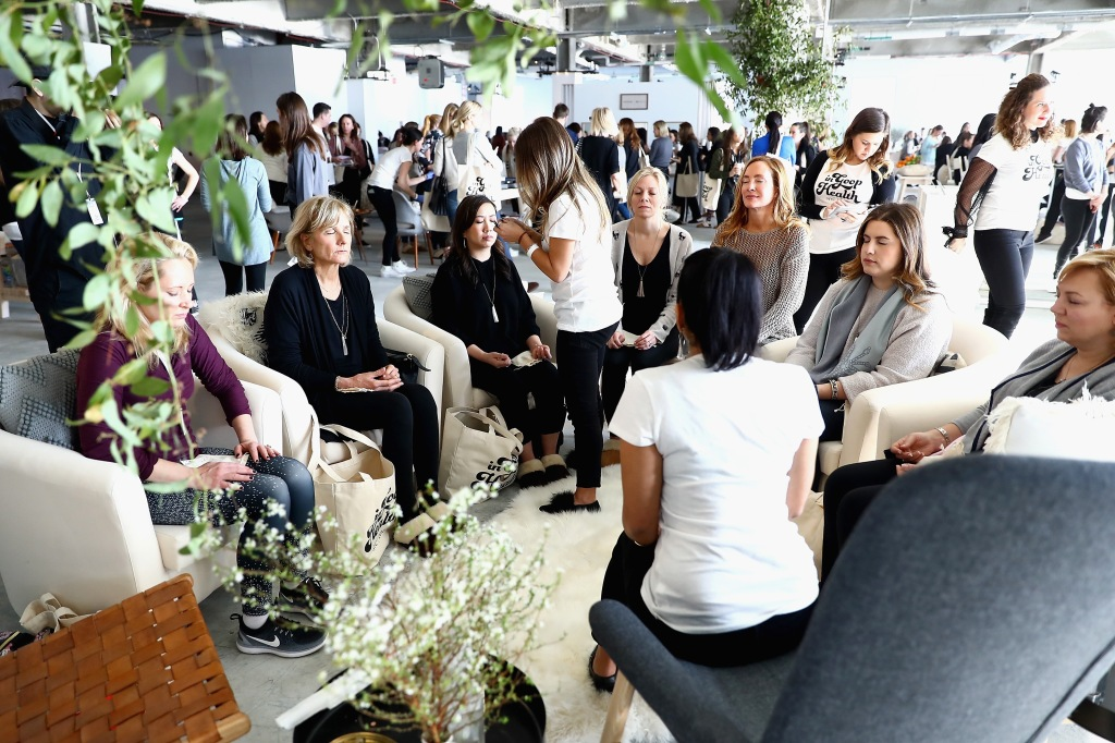 NEW YORK, NY - JANUARY 27:  Guests meditate at the in goop Health Summit on January 27, 2018 in New York City.  (Photo by Astrid Stawiarz/Getty Images for Goop)
